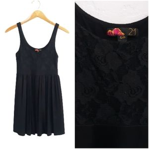 Forever 21 Floral Lace Tunic Dress Black Sz Small